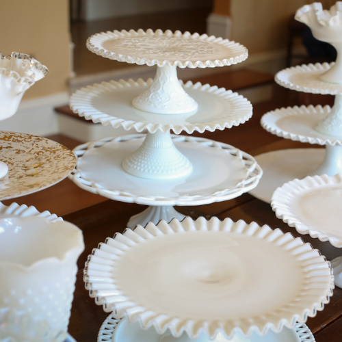 Dessert Pedestals - clear & white/prices vary by size