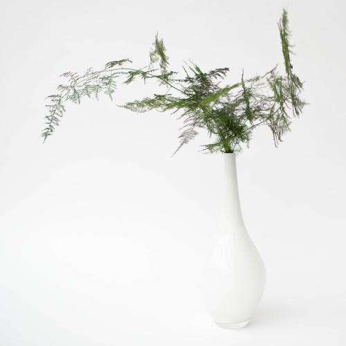 Tall White Glass Vase