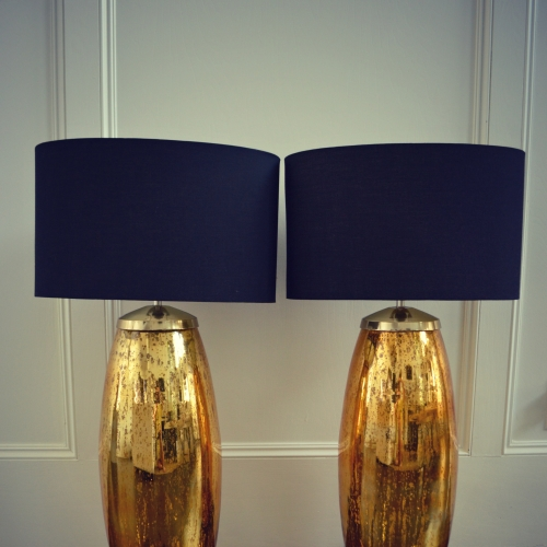 TRENDY GOLD LAMPS WITH OVAL BLACK SHADES